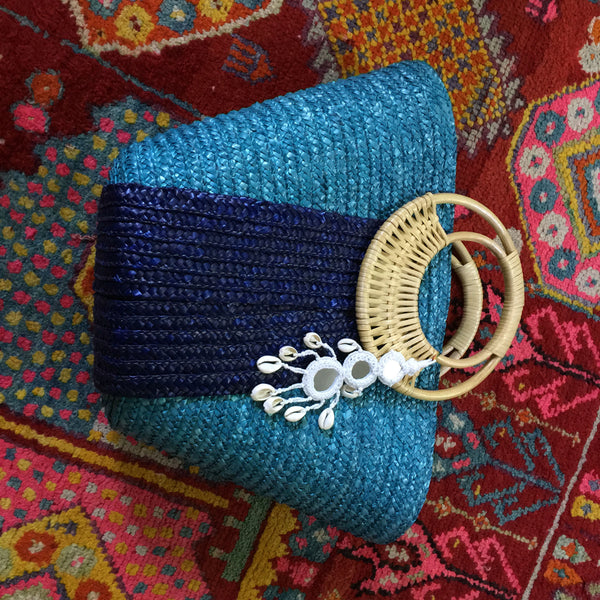 2-Toned Blue Beach Bag with White Shell Tassel