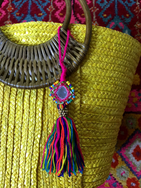 Yellow Tote Bag with Colorful Mirrored Tassel