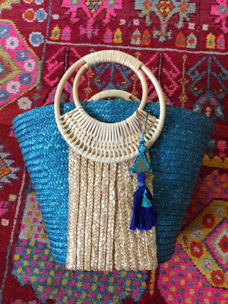 Turquoise and Brown Blue Mirrored Tassel Bag