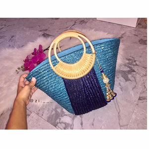 Navy Striped Blue Bag with Exuma Tassel