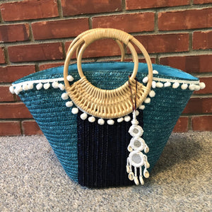White and Blue Pom Pom Beach Bag