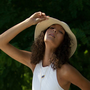 straw bucket hat beach glam