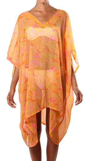 orange pink silk caftan