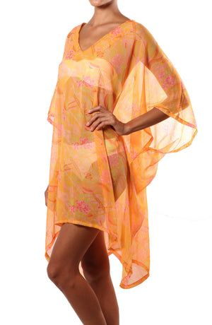 orange silk beach coverup