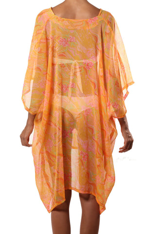 orange pink swim coverup