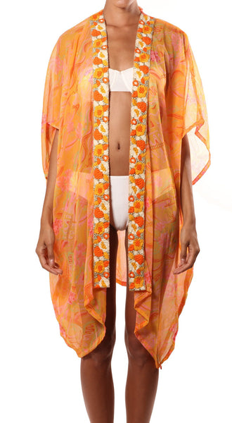 orange pink embroidered robe