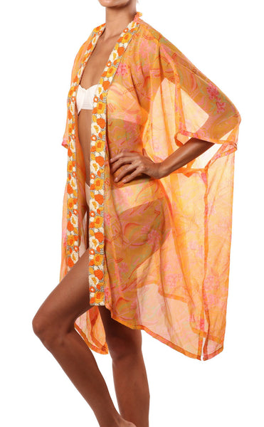 orange pink beach robe