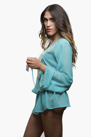 Turquoise Swimsuit Coverups Beach Glam