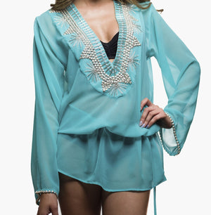 Blue Silver Embellished Beachwear