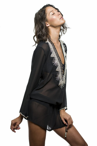 black silk embroidered beachwear