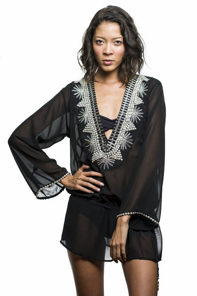 black sheer jeweled kaftan
