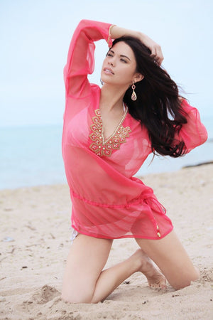 Coral Silk Kaftan Top