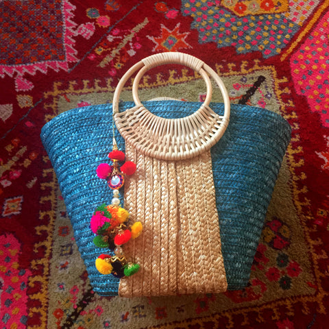 Turquoise and Brown Long Colorful Tassel Bag