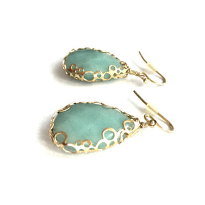turquoise gold earrings side view beach glam