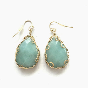 Amazonite Gold Earrings Beach Glam