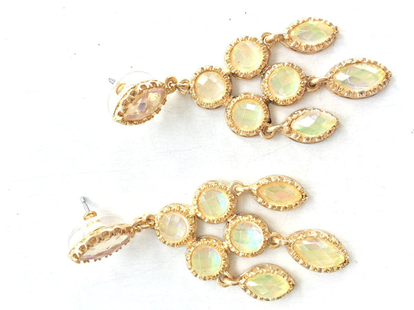 Opal Gold Chandelier Earrings top view Beach Glam