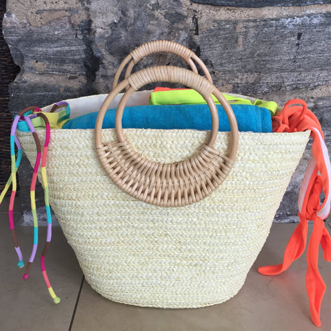 white straw beach tote