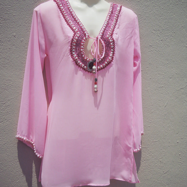 Pink Embroidered Tunic Dress Beach Glam