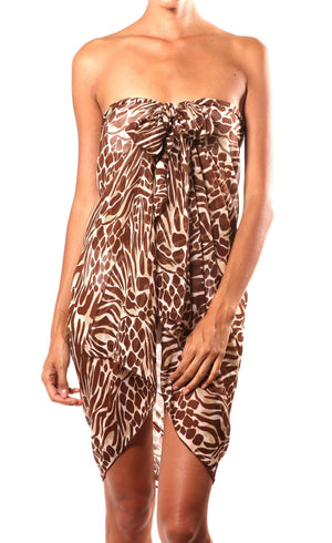 Tiger Print Wrap Dress Beach Glam