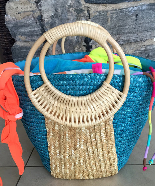 blue and natural beach bags Beach Glam