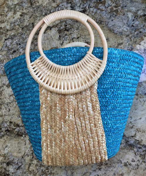 Blue and Natural Beach Bags top view Beach Glam