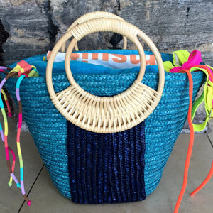 Blue Straw Beach Bag