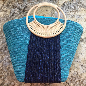 Blue Straw Market Bag