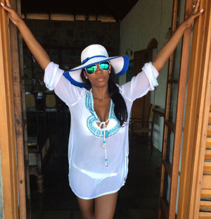 White Blue Caftan Beach Glam