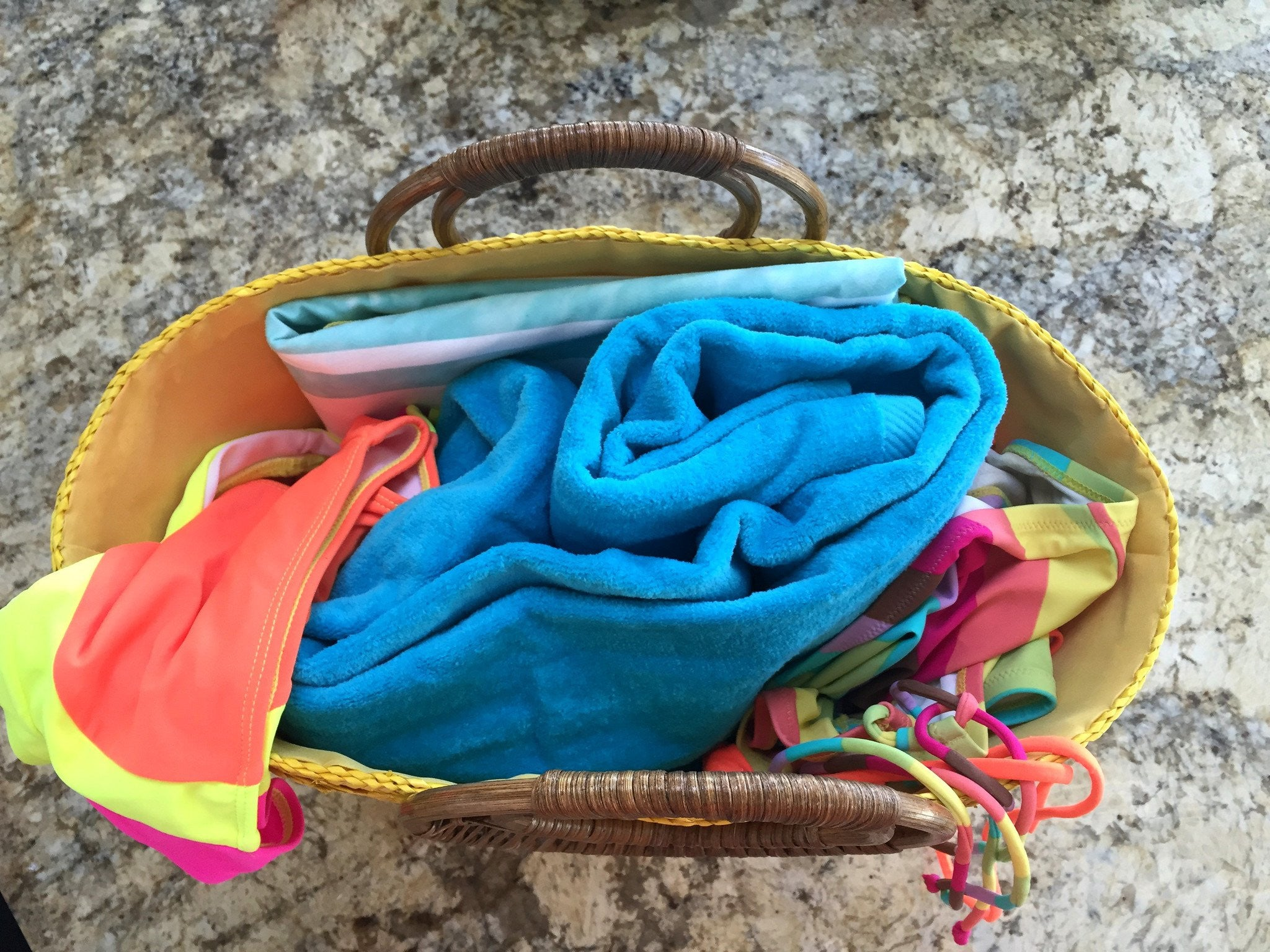 Colorful beach bag in Ibiza Style in Yellow and Zebra