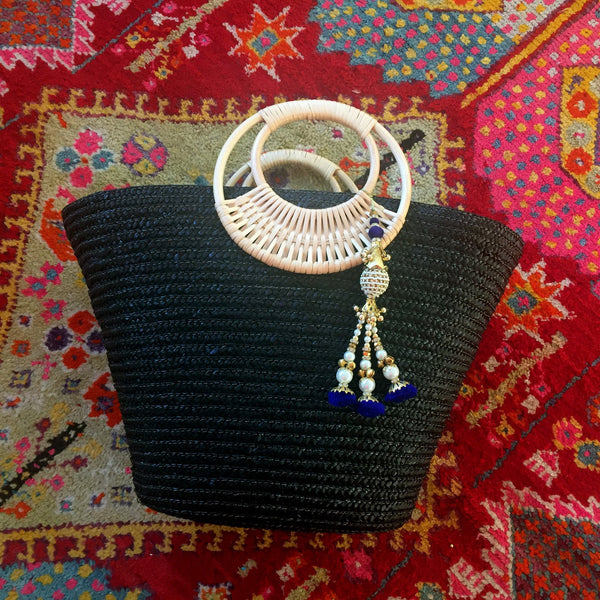 black and blue beach bag