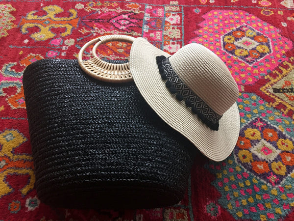 black and brown hat and bag gift set