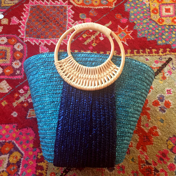 blue straw bag