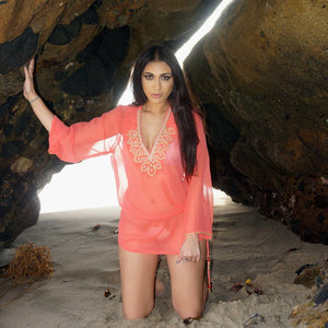 Coral Gold Tunic Beach Glam