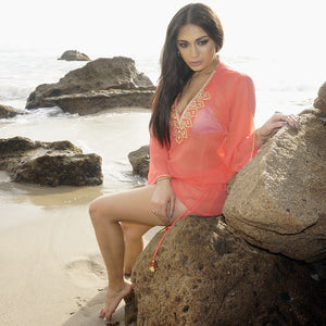 Coral Gold Kaftan Beach Glam