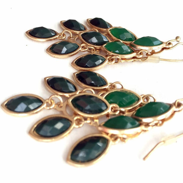 emerald green gold earrings