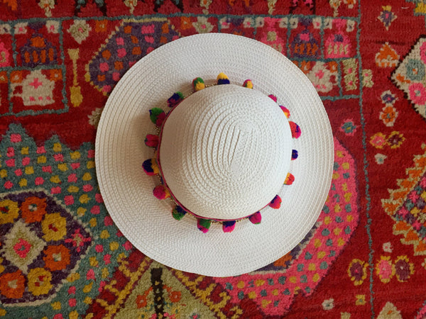 white colorful hat