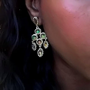 grey opal chandelier earrings
