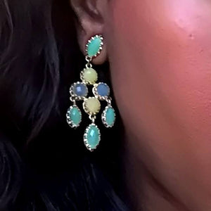 yellow blue green chandelier earrings