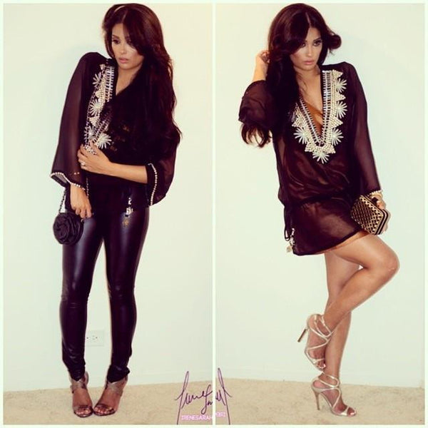 black and silver tunic