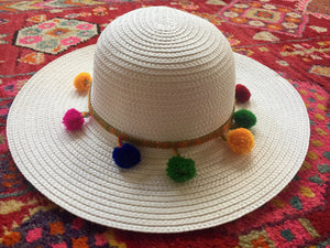 colorful pom pom white hat