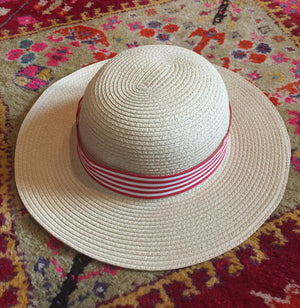 Natural Brown Hat with Striped Red Ribbon