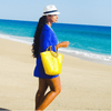 Blue Tunic Dress Yellow Beach Bag Whtie Fedora Beach Glam