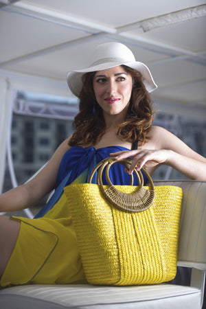Yellow Beach Bags Yellow Blue Sarong White Sun Hat