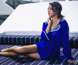 Blue Gemstone Crystal Kaftan Beach Glam