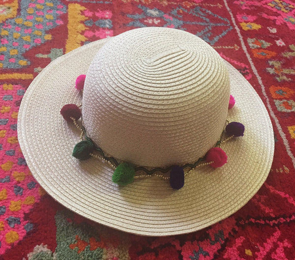 Colorful Boho Pom Pom Sun Hat