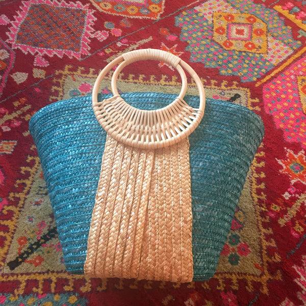 turquoise and natural straw bag