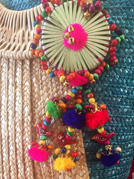 large colorful bag tassel