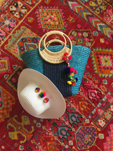 colorful white hat and bag gift set
