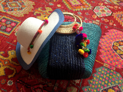 matching blue beach bag and hat