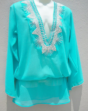 Turquoise Silver Blue Tunic Beach Glam